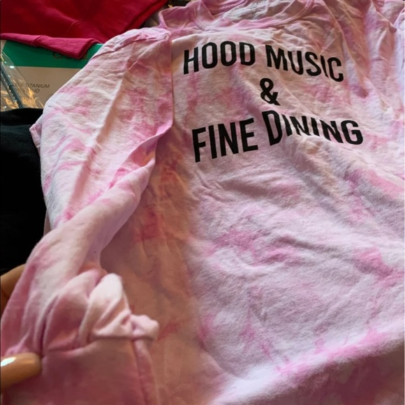 Long sleeve tie die shirt in pink and white